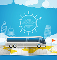 World map with the bus Vacation concept vector image