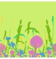 Frame on the seamless meadow flowers and ears vector image