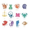 set of funny zodiac signs vector image