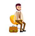 young hipster sitting on yellow chair money bag vector image