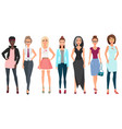beautiful cute young women in fashion clothes vector image