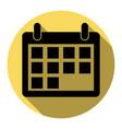 calendar sign flat black vector image