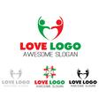 Couples team heart logo design vector image