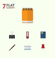 flat icon tool set of nib pen notepaper paper vector image