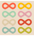 Paper Colorful Infinity Symbols Set on Recycled vector image