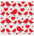 seamless pattern with cartoon red birds vector image