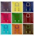 set of flat shading style icon jump rope vector image