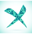 Blue abstract triangles isolated cross mark vector image vector image