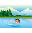 A boy swimming at the river vector image vector image