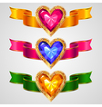ribbons heart vector image vector image