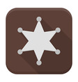 Sheriff star flat app icon with long shadow vector image