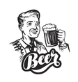 Beer or pub Happy smiling man with mug of fresh vector image