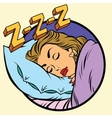 Comic girl sleeping in bed vector image