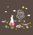 easter bunny card happy easter with eggs vector image