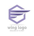 icon wing hexagon purple design symbol icon vector image