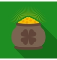 Pot of Gold with Clover Symbol vector image
