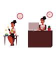 black african businesswoman having breakfast vector image vector image