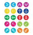 Dotted colorful arrows round icons set isolated vector image vector image