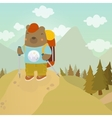 Cartoon bear adventure tourist vector image