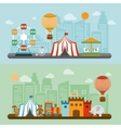 Circus in city flat banners set vector image