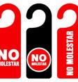 No molestar do not disturb signs vector image vector image