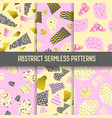 abstract seamless patterns set with gold elements vector image