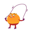 funny smiling orange character with jumping rope vector image