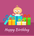 Happy birthday card with smiling little baby and vector image