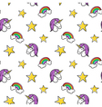 seamless pattern of fashionable patches unicorn vector image