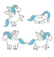 Set blue unicorn wings horse magical character vector image