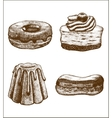 set of doughnut pastry cake eclair vector image
