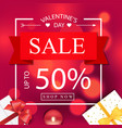 valentines day sale 50 square red background vector image