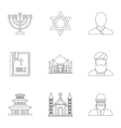 Spirituality icons set outline style vector image