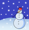 Snowman with snowflakes on the background vector image