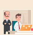 angry boss looks at the employee vector image