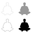 Meditation man the black and grey color set icon vector image