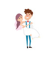 happy couple married and man carrying his wife vector image