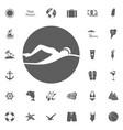 beach icons set elegant series vector image