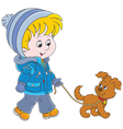 Boy walking with his dog vector image