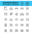 business people ouline icons editable vector image