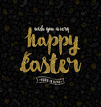 Easter greeting card - glitter gold type design vector image