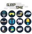 Sleep time flat icon set vector image