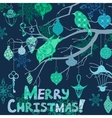 Dark blue Christmas card with birds and vector image vector image