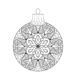 vintage Christmas ball New Year 2017 freehand vector image