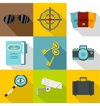 Secret agent icons set flat style vector image