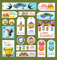easter tag label and card set cartoon design vector image