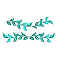 set of branches with green leaves on a white vector image