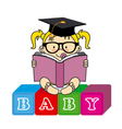 baby girl with book vector image