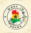 Stamp with map flag of Ghana vector image