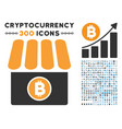 bitcoin store flat icon with collection vector image